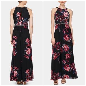 SLNY Floral Printed Embellished Waist Maxi Dress